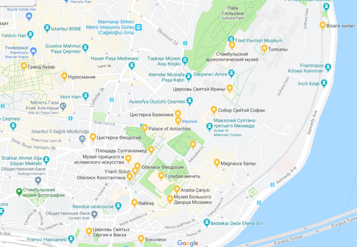 Карта достопримечательностей Стамбула на русском языке