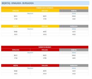 Расписание паромов от Бешикташ до Кыналыада и Бургазада