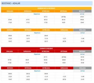 Расписание паромов от Бостанджи до Принцевых островов