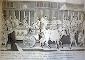 Фрагмент барельефа триумфальной колонны Феодосия с форума Феодосия. Прохождение триумфального шествия на фоне акведука Валента