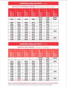 Расписание паромов до Принцевых островов