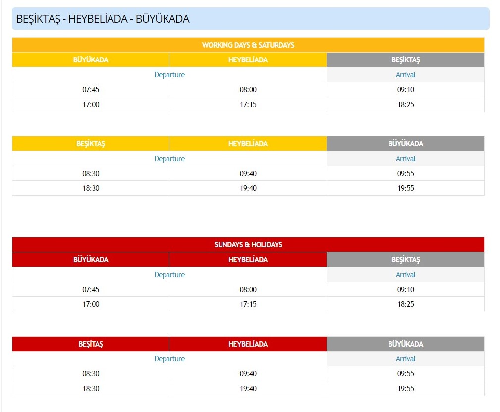 Расписание паромов От Бешикташ до Хейбелиада и Бююкада