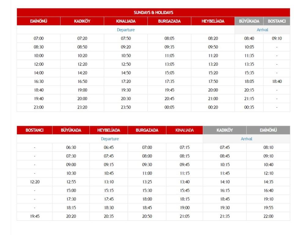 Расписание паромов от Эминёню до Кадыкёй и Принцевых островов в выходные дни и праздники